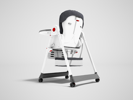 Modern white highchair for feeding child with soft support behind 3d render on gray background with shadow