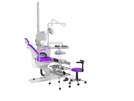 Modern dental chair with lighting with tools for drilling white with purple insets and with tools and chair for the dentist on the right 3d render on white background no shadow