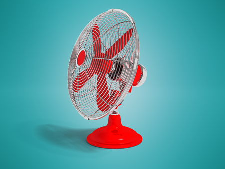 Modern red fan on the table to cool the room on the right 3d render not blue background with shadow