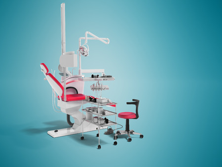 Modern dental chair with lighting with tools for drilling white with red inserts and with tools and an armchair for the dentist on the right 3d render on blue background with shadow