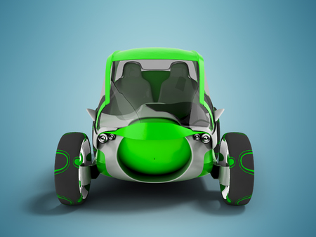 Modern electric car for travel on pavement paths green with white insets 3D render on blue background with shadow