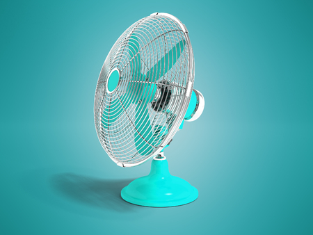 Modern blue fan on the table for cooling the room on the right 3d render is not blue background with shadow Stock Photo