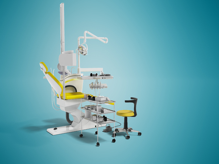 Modern dental chair with lighting with tools for drilling white with yellow inserts and with tools and an armchair for the dentist on the right 3d render on blue background with shadow