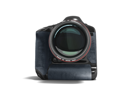 Modern professional camera for professional shooting in nature black with blue leather inserts 3D render on white background with shadow