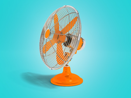 Modern orange fan on the table to cool the room on the right 3d render not blue background with shadow