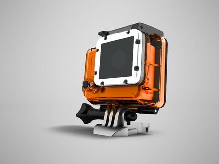 Action camera in an orange case for helmet mount 3d render on gray background with shadow