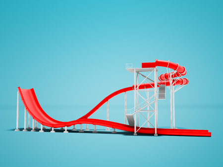 More red water attraction for water park 3d render not blue background with shadow