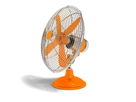 Modern orange fan on the table to cool the room on the right 3d render not white background with shadow