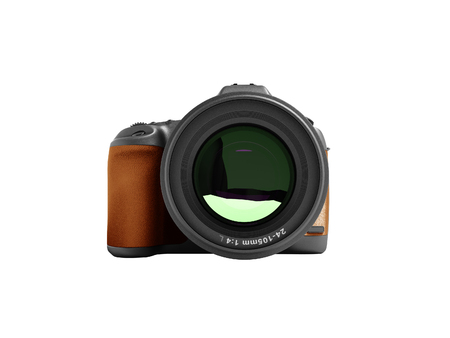 Modern brown professional camera for nature photography front 3d rendering not white background no shadow Фото со стока