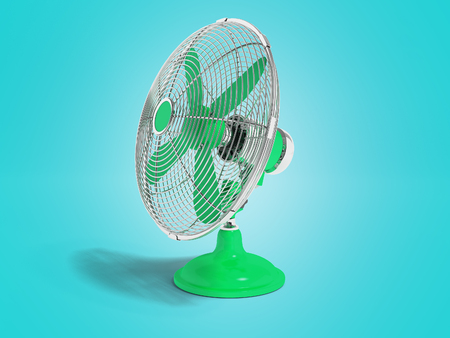 Modern green fan on the table to cool the room on the right 3d render not blue background with shadow Stock Photo