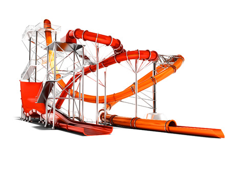 Modern red and orange water roller coaster rides for water park 3d render on white background