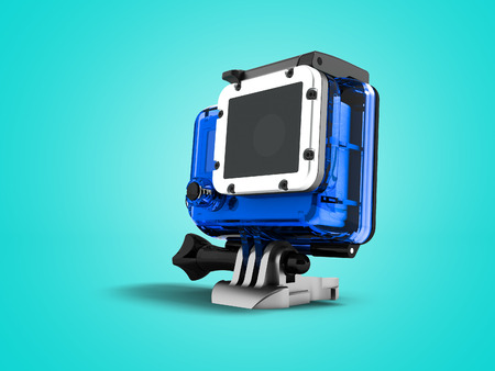 Action camera in dark blue hood attachment 3d render on blue background with shadow