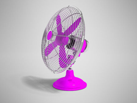 Modern purple fan on the table to cool the room on the right 3d render not gray background with shadow