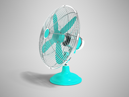 Modern blue fan on the table for cooling the room on the right 3d render is not gray background with shadow