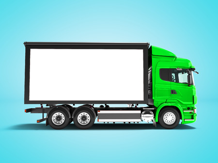 Modern green truck with white trailer for transporting goods from the side 3d render on blue  background with shadow