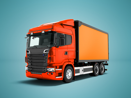 Modern red truck with an orange trailer for transportation of goods around the city 3d render on blue background with shadow