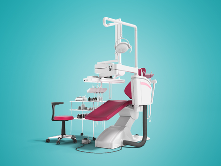 Modern red leather chair for dental office with dentistry tool in front 3d render on blue background with shadow