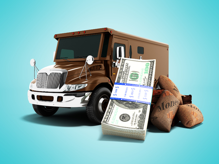 Modern concept of carrying money and stack of dollars in a bank brown truck armored car front 3d render on blue background with shadow