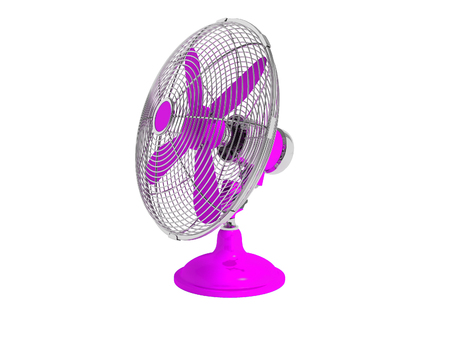 Modern purple fan on the table to cool the room on the right 3d render not white background no shadow