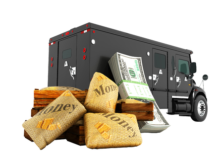 Modern concept of transporting money in bank of black truck with an armored car 3d render on white background no shadow