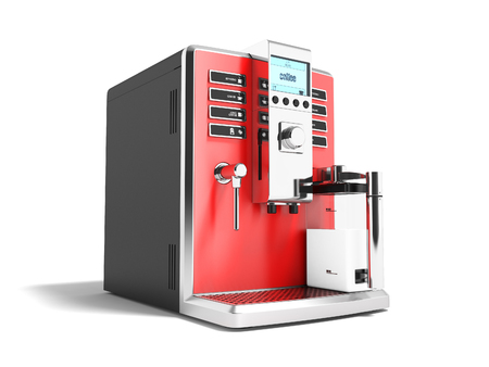 Modern red coffee machine for two mugs for coffee and cappuccino 3d render on white background with shadow