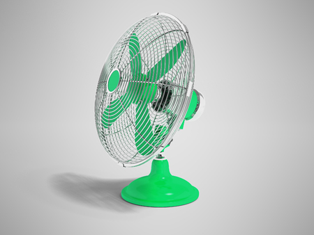 Modern green fan on the table to cool the room on the right 3d render not gray background with shadow