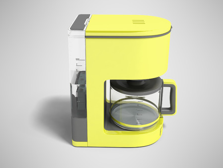 Modern yellow coffee machine with a kettle for brewing coffee 3d rendering on gray background with shadow