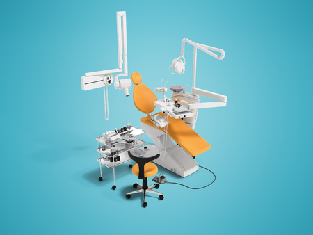 Modern orange dental chair and bedside table with tools and appliances for dentistry perspective 3d rendering on blue background with shadow