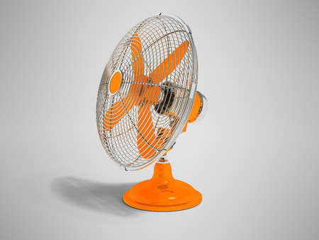 Modern orange fan on the table to cool the room on the right 3d render not gray background with shadow Stock Photo