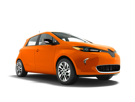 Modern orange electric car for trips to the beach front 3d rendering not white background with shadow