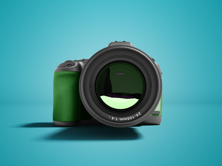 Modern green professional camera for nature photography front 3d rendering not blue background with shadow Stock Photo