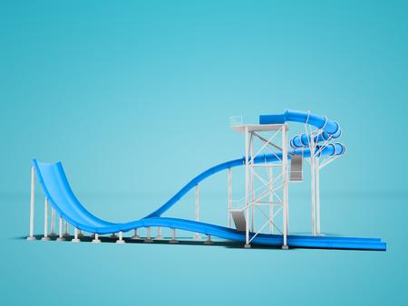 ウォーターパーク3Dレンダリングのための青い水の魅力は、影で青い背景ではありません