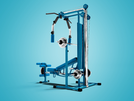 Modern blue sports simulator with black inserts for power load of legs and hands 3d render on blue background with shadow