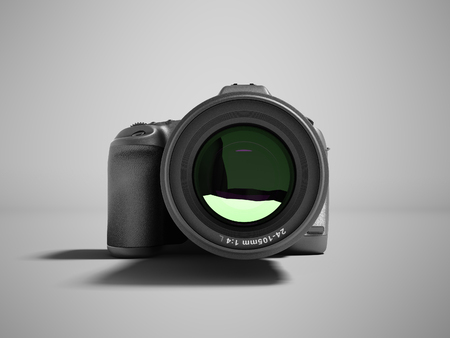 Modern gray professional camera for nature photography front 3d rendering not gray background with shadow
