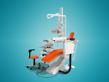 Modern orange chair for dentist with white bedside table with tools and backlight for dental work 3D rendering on blue background with shadow Stock Photo