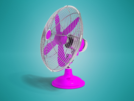 Modern purple fan on the table to cool the room on the right 3d render not blue background with shadow Stock Photo