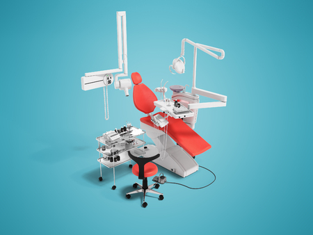 Modern red dental chair and bedside table with tools and appliances for dentistry perspective 3d render on blue background with shadow