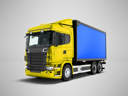 Modern yellow truck with blue trailer for transportation of goods around the city 3d render on gray background with shadow