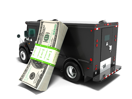 Modern transportation concept stack of dollars in a black truck bank with an armored car closed laterally 3d render on white background with shadow Imagens