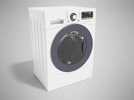 Modern white washing machine for washing clothes 3d rendering on gray background with shadow Reklamní fotografie