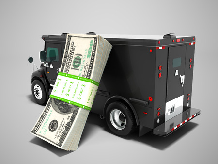 Modern transportation concept stack of dollars in black truck bank with an armored car closed laterally 3d render on gray background with shadow