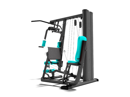 Modern blue pair sports simulator with black inserts for power load of legs and hands 3d render on white background with shadow