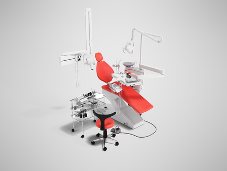 Modern red dental chair and bedside table with tools and appliances for dentistry perspective 3d render on gray background with shadow Stock Photo