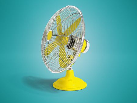 Modern yellow fan on the table to cool the room on the right 3d render not blue background with shadow