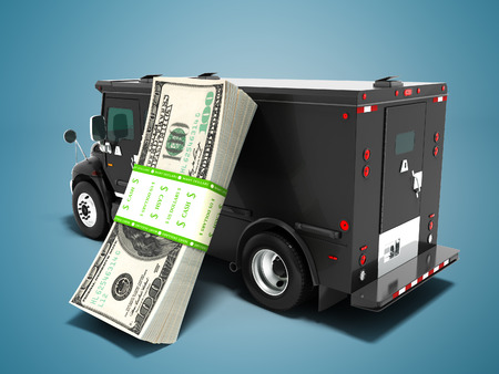 Modern transportation concept stack of dollars in black truck bank with an armored car closed laterally 3d render on blue background with shadow