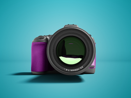 Modern purple professional camera for nature photography front 3d rendering not blue background with shadow