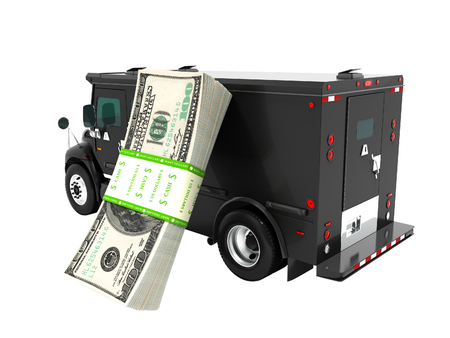 Modern transportation concept stack of dollars in black truck bank with an armored car closed laterally 3d render on white background no shadow