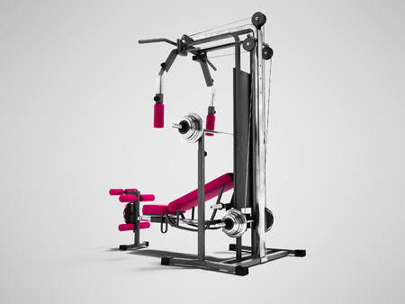 Modern raspberry sports training apparatus with black inserts for power load of legs and hands 3d render on gray background with shadow 스톡 콘텐츠