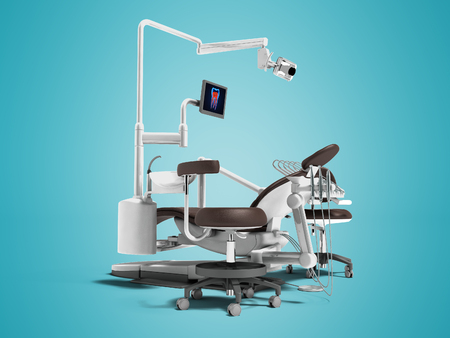 Modern brown dental chair with borax with lighting and monitor for work 3d render on blue background with shadow