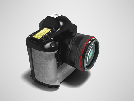 Modern black professional camera with gray leather inserts 3d render perspective on gray background with shadow